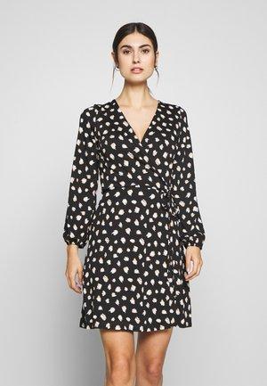 STROKE SPOT WRAP DRESS - Jersey dress - black