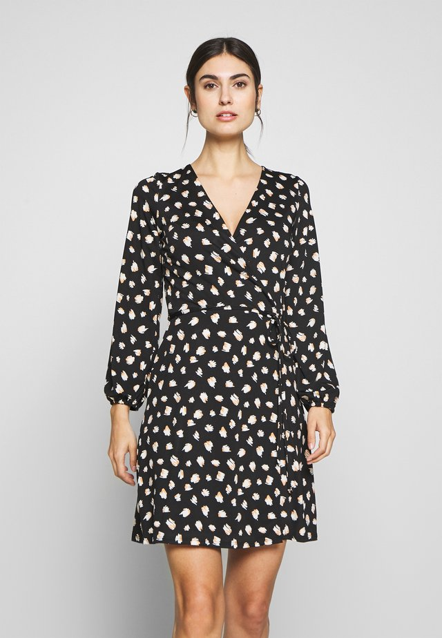 STROKE SPOT WRAP DRESS - Jersey dress - black