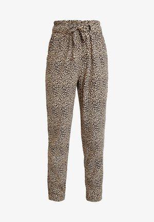 PAPERBAG WAIST - Kalhoty - beige/black