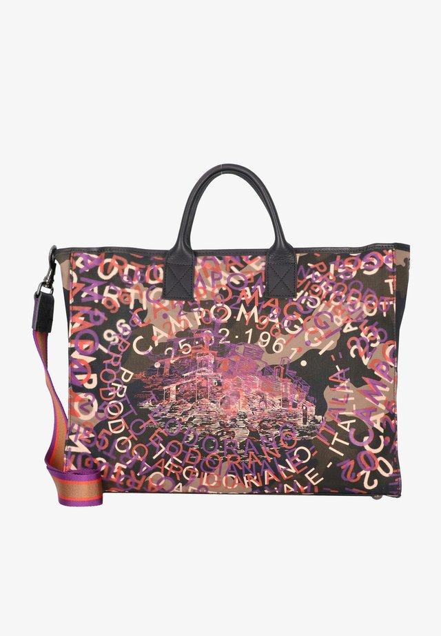 Tote bag - camouflage+nero+st. viola+cotto+ocra