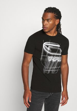 PERSPECTIVE LOGO GR SLIM - T-shirt print - dark black