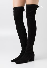Nly by Nelly - BLOCK HEEL THIGH BOOT - Over-the-knee boots - black - 0