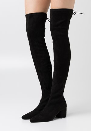 BLOCK HEEL THIGH BOOT - Høye støvler - black