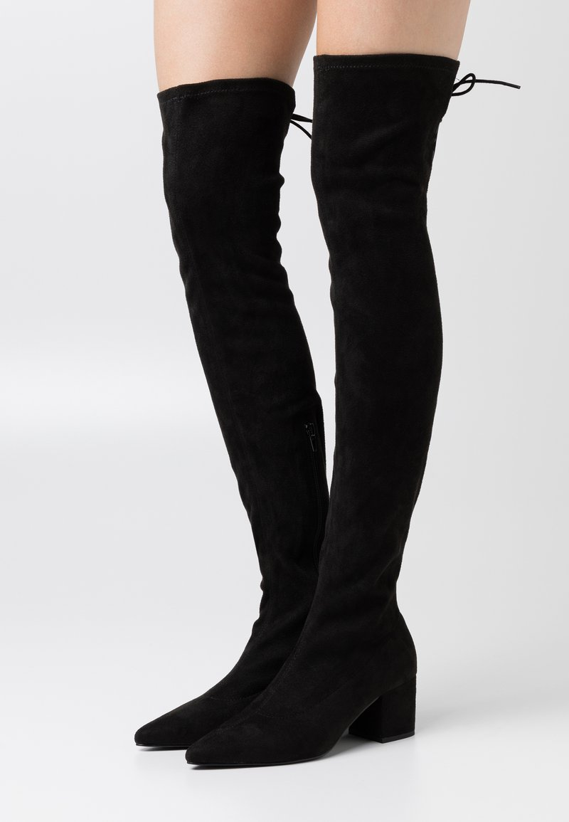 Nly by Nelly - BLOCK HEEL THIGH BOOT - Over-the-knee boots - black
