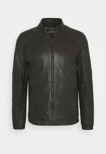 DRIVER - Leather jacket - dark brown