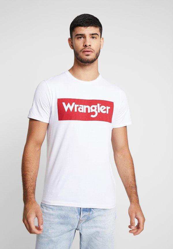 Wrangler LOGO TEE - T-shirt z nadrukiem - white/biały Odzież Męska GSRN