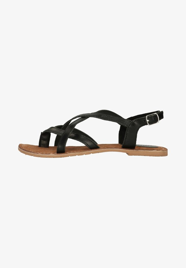 MIT GEKREUZTEN RIEMCHEN - Sandals - black