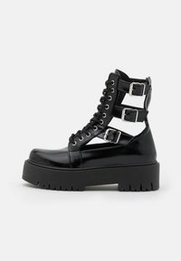 Topshop - BABE CUT OUT BUCKLE BOOT - Lace-up ankle boots - black - 1