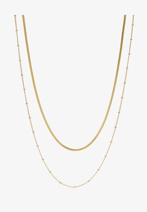 SATELLITE AND FLAT CURB CHAIN SET - Halskette - gold-coloured