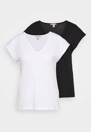 2 PACK - Basic T-shirt - black/white