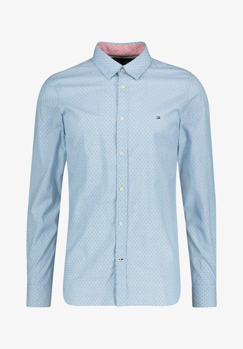 Tommy Hilfiger - SLIM DOTTED SQUARE PRINT - Shirt - blau