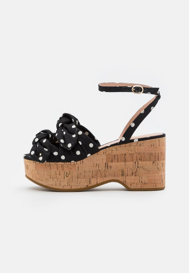 JULEP - Sandalen met plateauzool - black/french cream