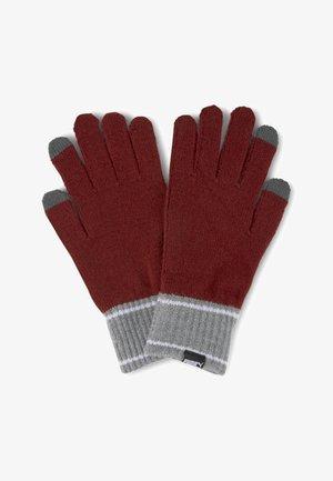 Gloves - intense red-medium gray heather