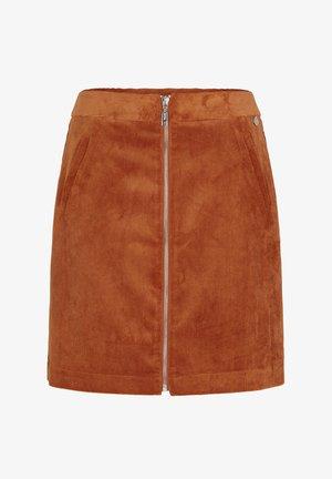 MIT REISSVERSCHLUSS - A-line skirt - light cognac