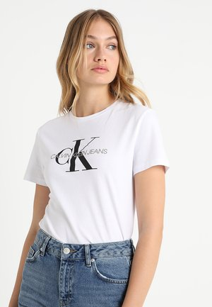 CORE MONOGRAM LOGO - T-shirt z nadrukiem - bright white