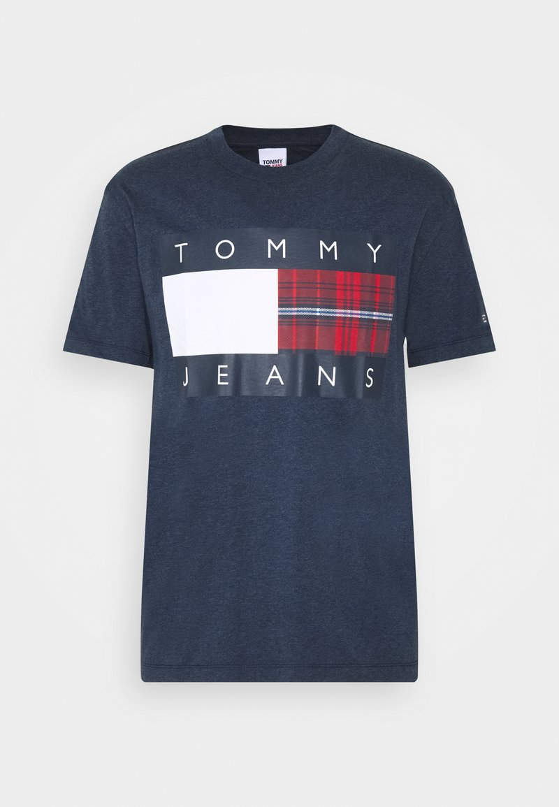 Tommy Jeans - PLAID CENTRE FLAG UNISEX - Print T-shirt - twilight navy