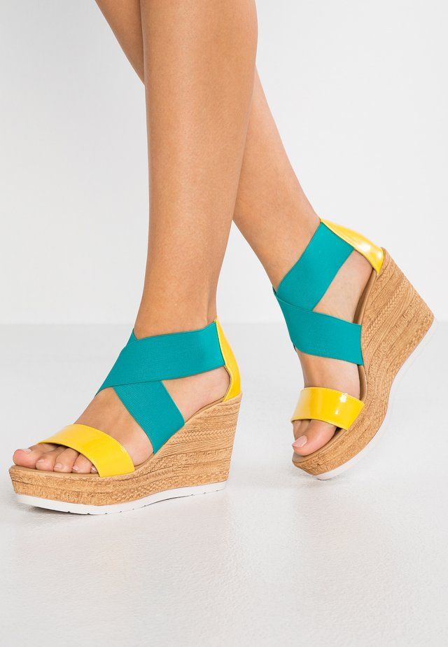 DRAKE - High heeled sandals - giallo/turquoise