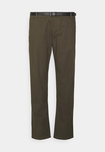 MEN'S WITH BELT - Chino kalhoty - army