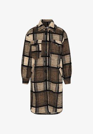 VALLEY - Classic coat - beige slash dark natur