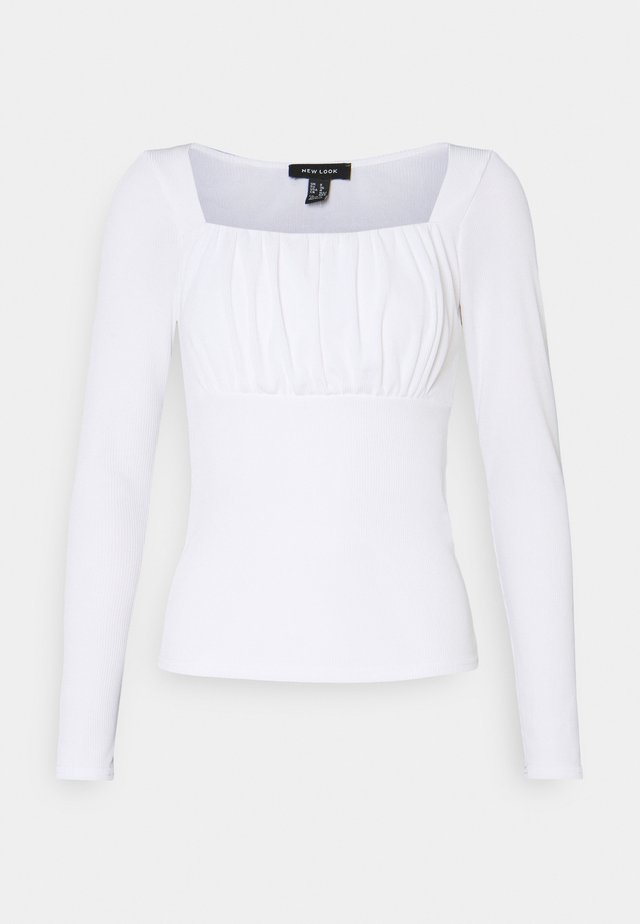 SLEEVE ROUCHED BUST NECK - Long sleeved top - cream