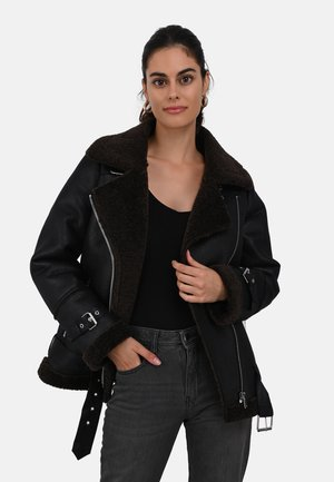 COMMUNITY - Faux leather jacket - black