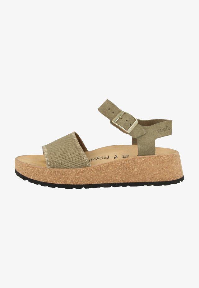 Sandaler m/ kilehæl - faded khaki