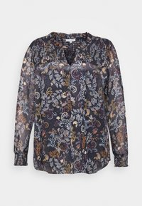BLOUSE WITH SMOCKING DETAILS - Blouse - navy