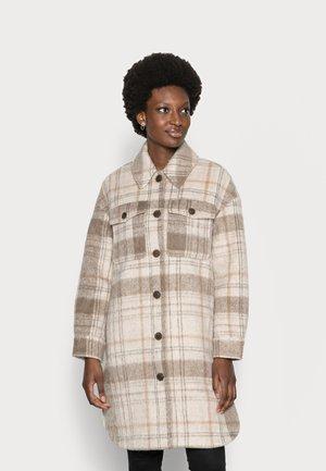 PLAID LONG OVERSHIRT - Classic coat - beige check design