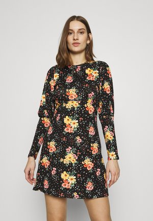 PUFF SLEEVE FLORAL DRESS - Jersey dress - black