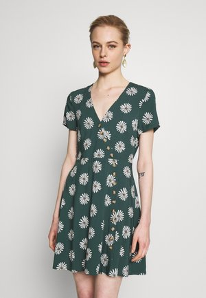 VNECK BUTTONFRONT MINI DRESS IN BIG DAISY - Day dress - big daisy midnight green
