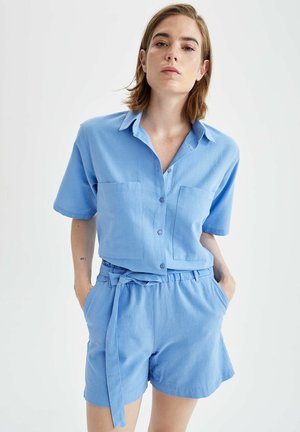 CROPPED FIT - Button-down blouse - blue