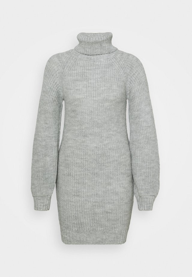COSY ROLL NECK MINI DRESS - Gebreide jurk - grey
