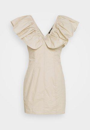 FRILL SHOULDER MINI DRESS - Day dress - sand