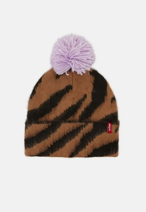 WOMEN'S ANIMAL BEANIE POM POM - Čepice - light brown