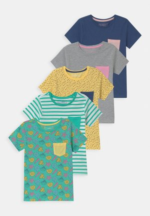 5 PACK - Camiseta estampada - dark blue/grey /yellow
