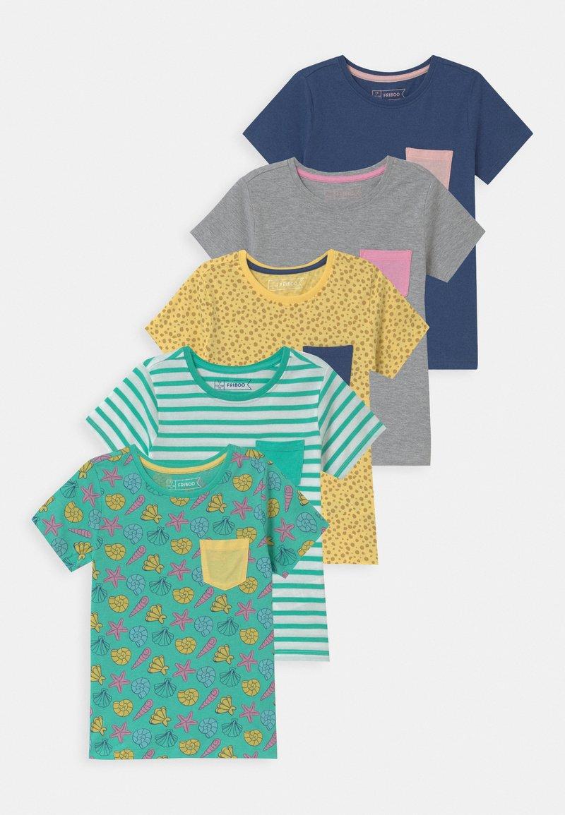 Friboo - 5 PACK - T-shirts print - dark blue/grey /yellow