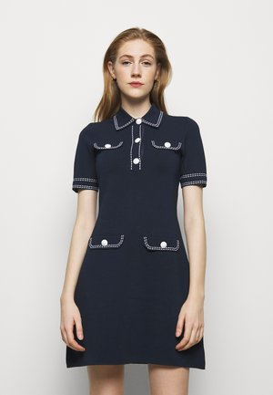 CONTRAST STITCH BUTTON DRESS - Pletené šaty - midnight blue