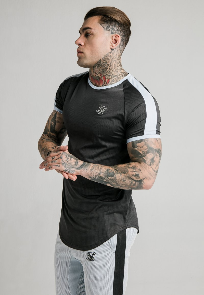 SIKSILK - EYELET - Print T-shirt - charcoal grey
