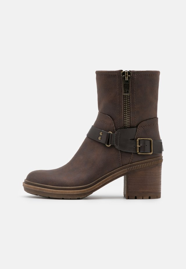Cowboy/biker ankle boot - dark brown