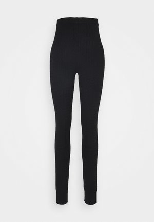 cable knitted leggings - Leggingsit - black