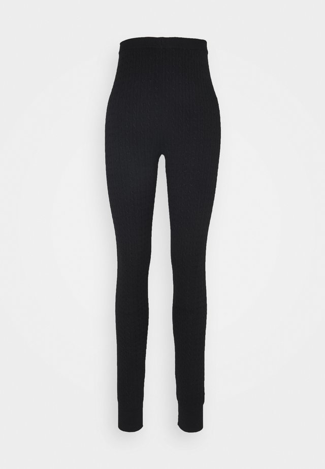 cable knitted leggings - Leggings - black