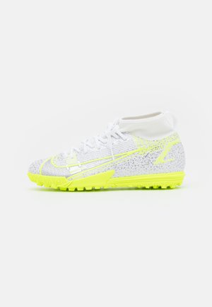 MERCURIAL 8 ACADEMY TF UNISEX - Astro turf trainers - white/black/metallic silver/volt