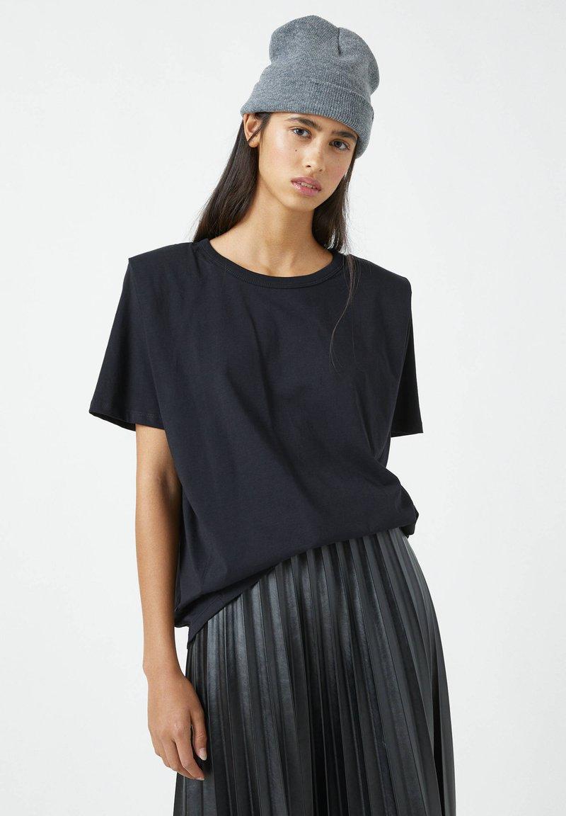PULL&BEAR - Basic T-shirt - mottled black