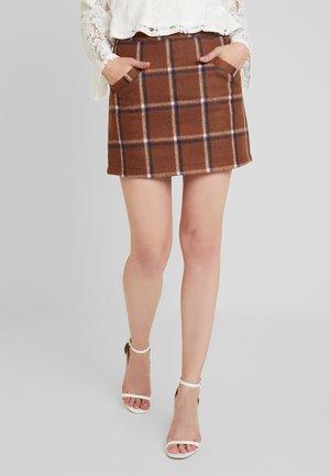 HIGH WAISTED MINI SKIRT - A-line skirt - brown