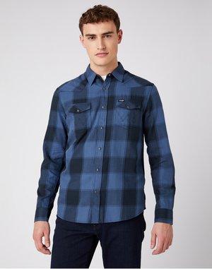 LS WESTERN - Shirt - dark denim