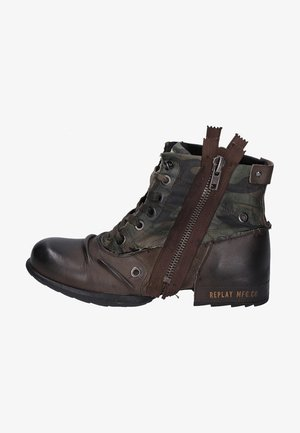Lace-up ankle boots - dark brown/dark green