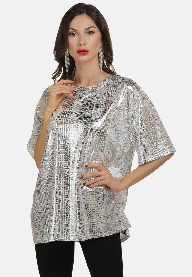 T-shirt print - silber