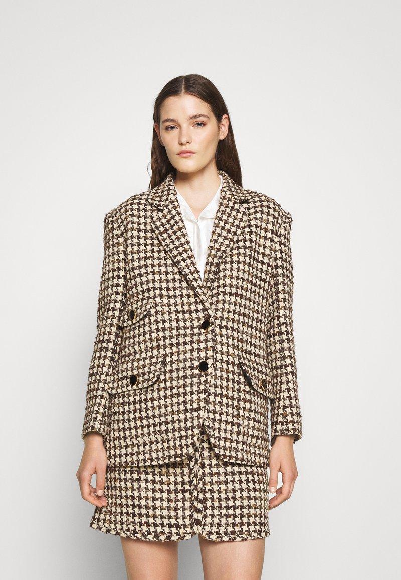 sandro - Short coat - marron/beige