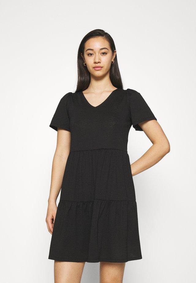 VIEDENA V-NECK DRESS - Trikoomekko - black