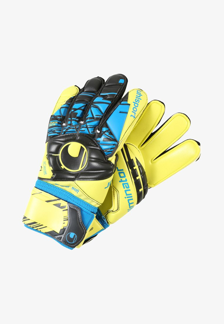 Uhlsport - ELIMINATOR SUPERSOFT - Goalkeeping gloves - lite fluo gelb/schwarz/hydro blau